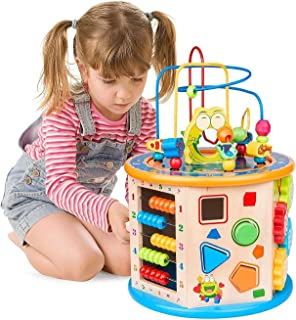 Mumoo Bear Wooden Activity Cube 8 in 1 Learning Toys for 3+ Years Old Boys Girls Bead Maze Shape Sorter Educational Develo...