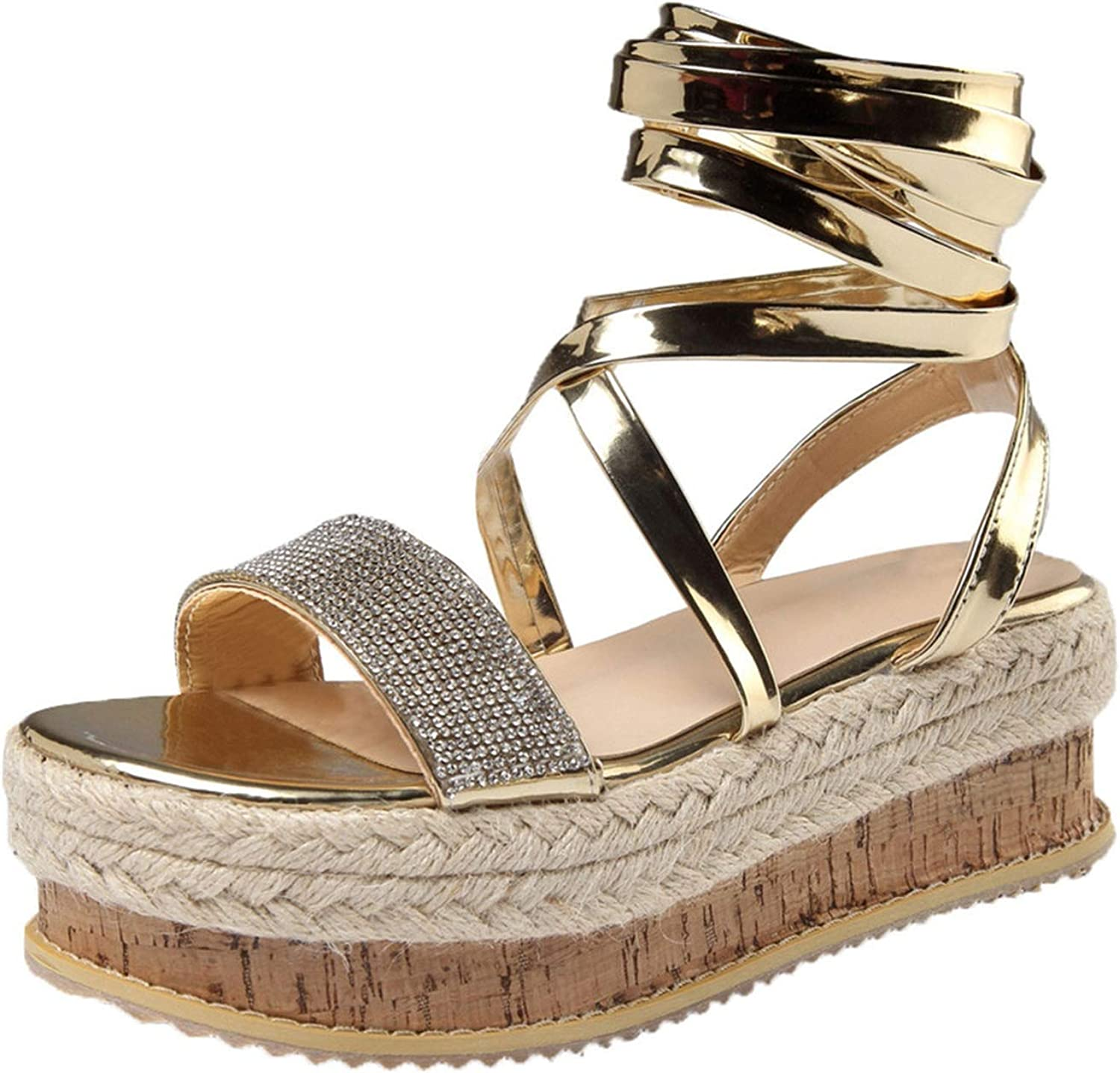 Gladiator Sandals Flat Rome Style Crystal Flat Playform Woven Sandals Roman shoes