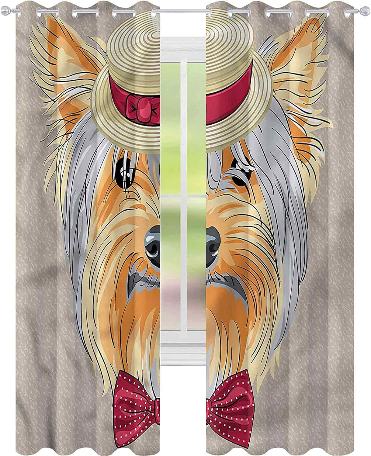 Blackout Shipping included Window Curtain Yorkie Hipster Gentleman W42 Dog L72 f x Latest item