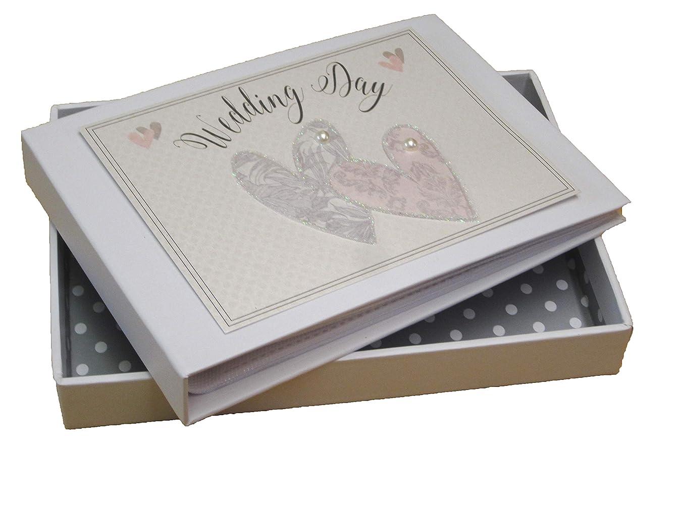 White Cotton Cards Wedding Day Love Hearts Mini Photo Album (NWH1T)
