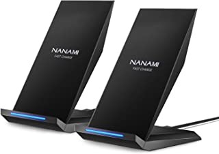 Fast Wireless Charger,[2 Pack] NANAMI Qi Certified Charger Wireless Charging Stand Compatible iPhone 11/11 Pro/11 Pro Max/XR/XS Max/XS/X/8/8 Plus,Samsung Galaxy S10+ S9 Note 10/9 and Qi-Enabled Phone