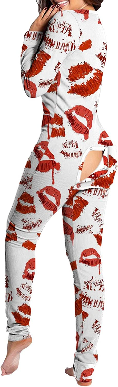 Women's Sexy Deep V-Neck One Piece Butt Flap Pajamas Long Sleeve Bodycon Bodysuit Jumpsuit Rompers Sleepwears