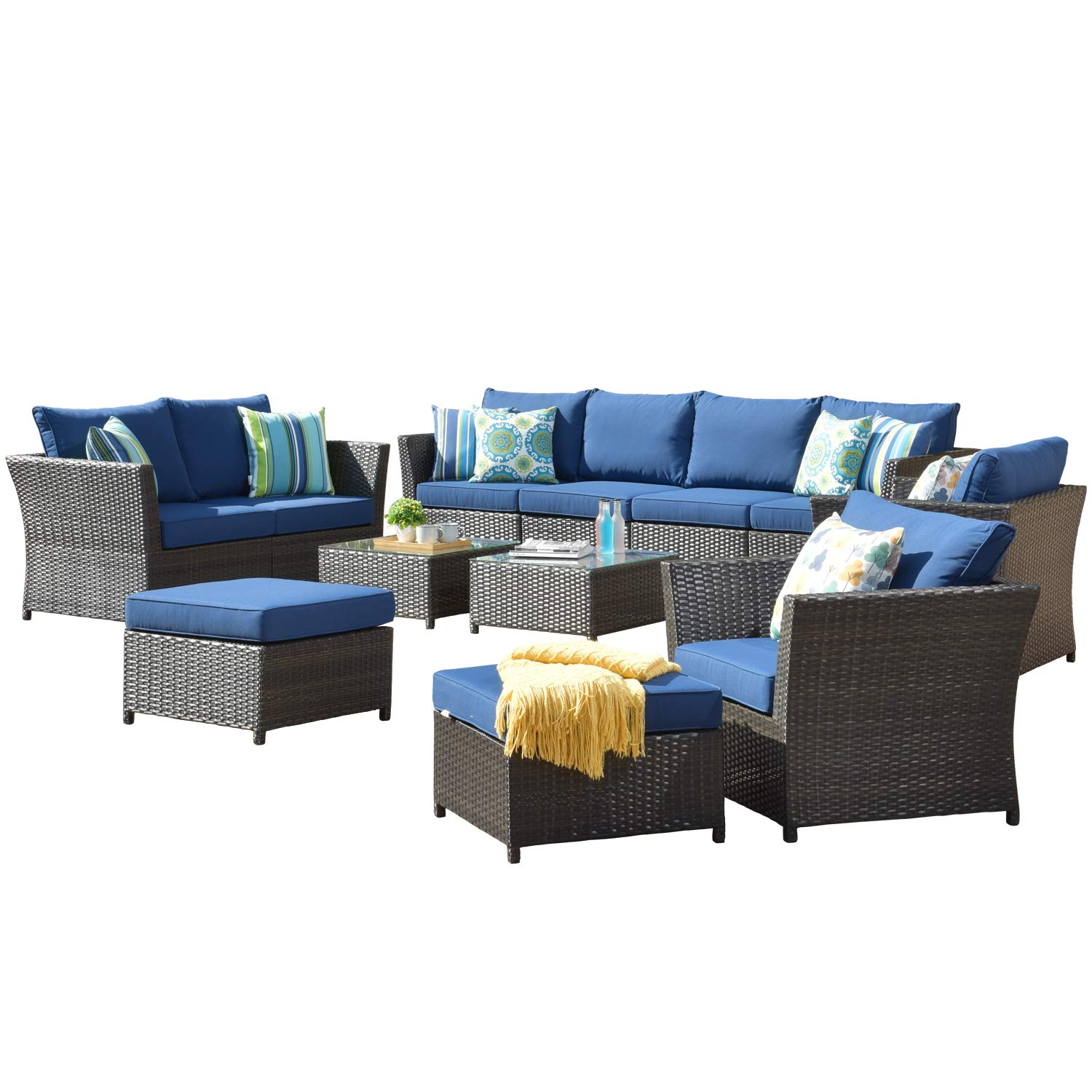 ovios Patio Furniture Set, Backyard Sofa Outdoor Furniture,PE Rattan Wicker sectional with Pillows and Coffee Table, No As...