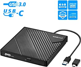 External DVD Drive USB 3.0 USB C CD Burner Amicool CD/DVD +/-RW Optical Drive,Slim Portable DVD CD ROM Rewriter Writer Duplicator for Laptop Desktop PC Windows 10/8/7 MacBook Mac Linux OS Apple