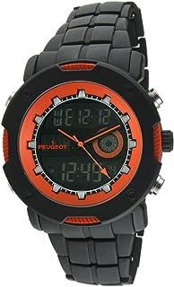 Peugeot Men's 1024 Digital Chronograph Black Orange Watch