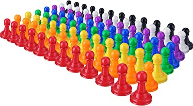 Shappy 96 Pieces 1 Inch Multicolor Plastic Pawn Chess Pieces for Board Games, Component, Tabletop Markers, Arts and Crafts