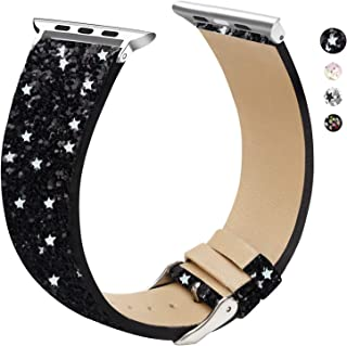EurCross Glitter Band Compatible with Apple Watch Band 38mm 40mm 42mm 44mm, Shiny Bling Women Girls Leather Wristband Heart Sparkle Compatible with iWatch Series 5 Series 4 Series 3 Series 2 Series 1