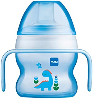 MAM Starter Cup (1 Count), MAM Sippy Cup, Drinking Cup with Extra-Soft Spill-Free Spout and Non-Slip Handles, for Boy...