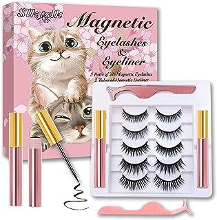 Slkyslk Magnetic Eyelashes with Eyeliner Kit,5 Pairs Reusable Short and Long Magnetic Lashes,3D False Fake Eyelashes Natur...