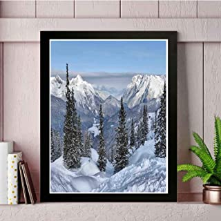 YiiHaanBuy Farmhouse Modern Art Wall Painting- Epic Winter with Snowy Pine Trees in Switzerland Woods.Art Photo Frame,Imported Printing Technology,Home Decoration -14x12in