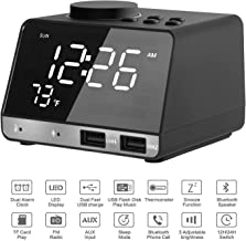 Alarm Clock Radio | TF Card Play | Dual Snooze Bluetooth Speaker | Connect to Echo | Adjustable Mirror LED Night Light | USB Charging Station | Indoor Thermometer | Built-in Mic