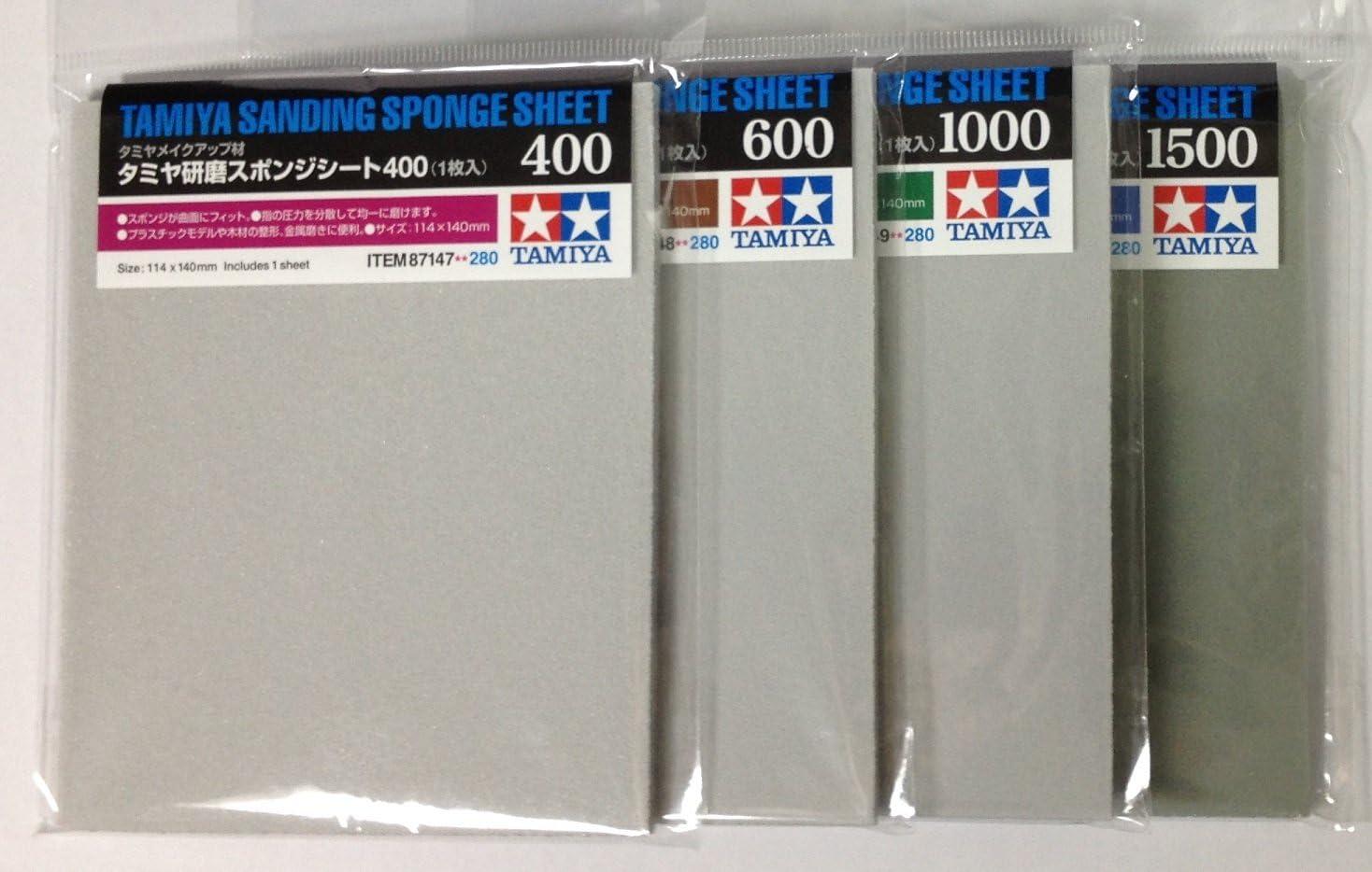 TAMIYA Sanding Sponge Sheet 4-type(#400,#600,#1000,#1500) Set, Model:, Toys & Play