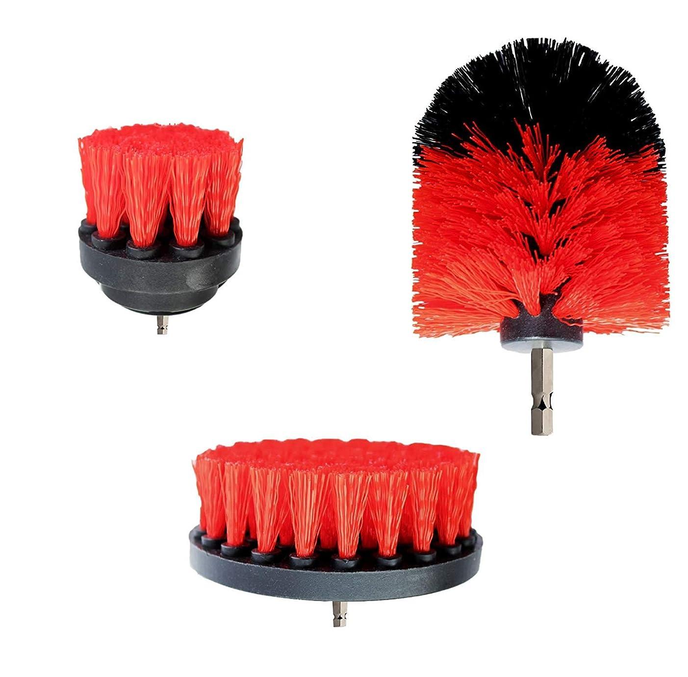 電動掃除用ブラシ 3点セット 風呂掃除 台所掃除 浴室掃除用ブラシ 六角軸電動ドリルに適応 (レッド)
