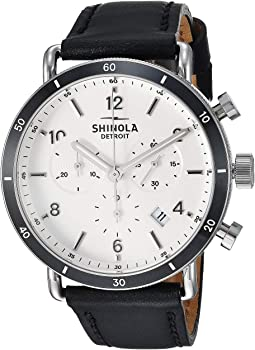 Black Leather Strap/Soft White Dial