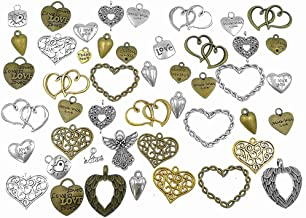 100 Grams Assorted Love Heart Shape Punk Steampunk Charm Pendant Connector for DIY Necklace Bracelet Jewelry Making Accessories