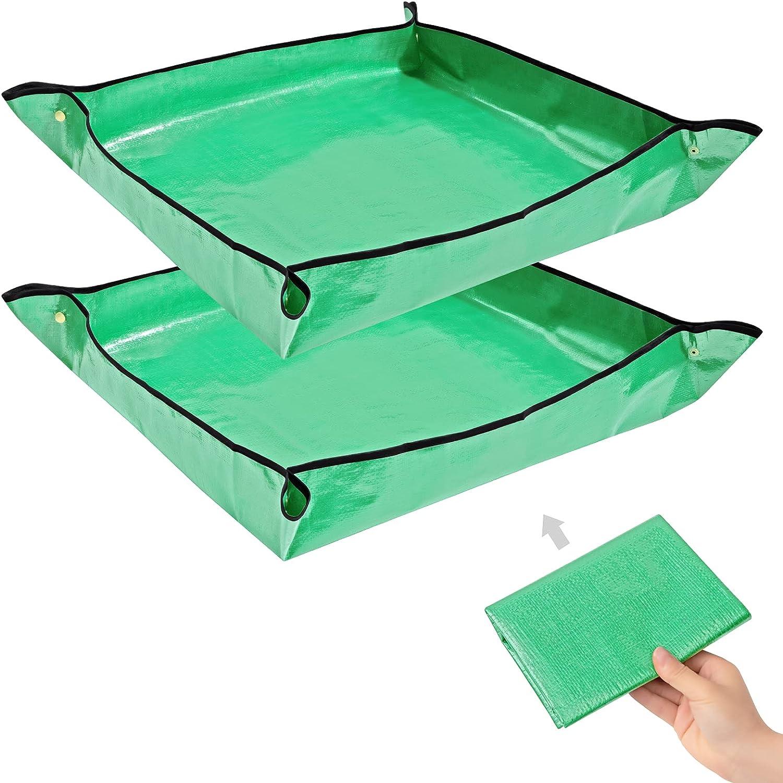 2PCS Gardening Mat Foldable Plant Mat Square Waterproof Gardening Mat Transplanting Plant Repotting Mat for Indoor Bonsai Succulent Plant Care (Green,26.7 x 26.7 in) (Green)
