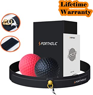 PORTHOLIC Boxing Reflex Ball Headband,Fight Ball Punching Trainer Premium Boxing Equipment Kit for Hand Eye Coordination Training or Stress Relieving for Kids or Adults (Newer Model)