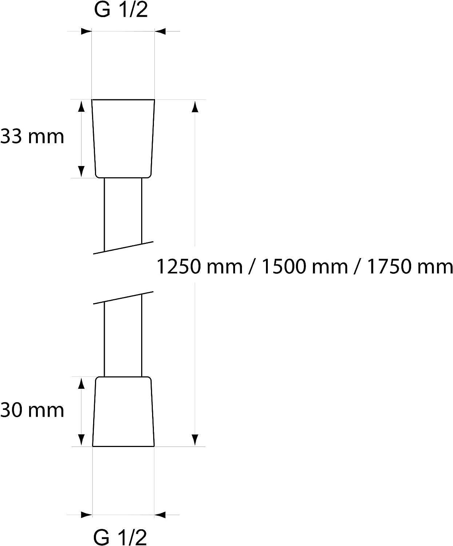 125 cm - 150 cm - 175 cm Brauseschlauch mit Metalloptik verschiedene L/ängen CHRIS BERGEN Duschschlauch MADE IN GERMANY