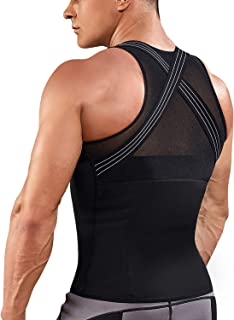 TAILONG Mens Back Braces Body Shaper Tank Top Compression Shirt Tummy Trimmer Abs Slim Underwear Vest Girdle Tights