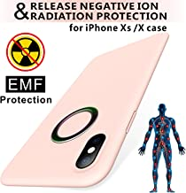 TAGCMC EMF Series iPhone Xs Case/iPhone X Case, Liquid Silicone Gel Rubber Shockproof Case Soft Microfiber,EMF Protection Radiation&Release Negativeion case Compatible with iPhone Xs/X 5.8 inch, Pink