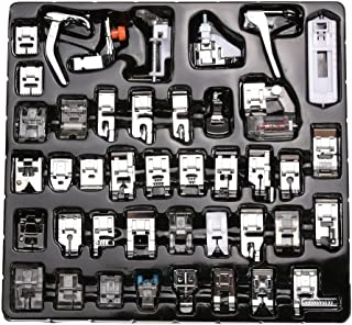 eoocvt Professional Domestic 42pcs Sewing Machine Presser Feet Set for Brother, Babylock, Singer, Janome, Elna, Toyota, New Home, Simplicity, Necchi, Kenmore, and White Low Shank Sewing Machines