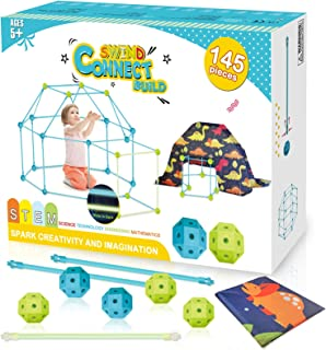 Myouth Fort Building Kit for Kids 145 Pieces Glow in Dark Construction STEM Fort Toys for 5 6 7 Year Old Boys Girls DIY Fo...