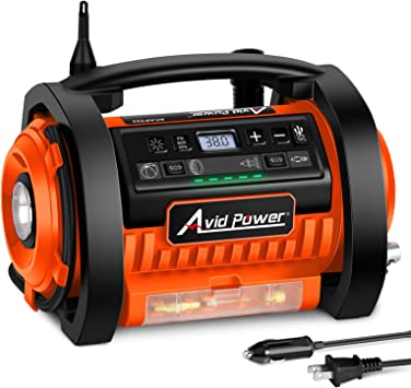 Avid Power Tire Inflator Air Compressor, 12V DC / 110V AC Dual Power Tire Pump with Inflation and Deflation Modes, Dual Powerful Motors, Digital Pressure Gauge: image