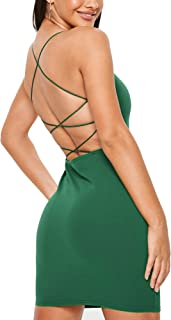 Women Sexy Bodycon Party Dresses Backless Spaghetti Straps Clubwear Mini Dress