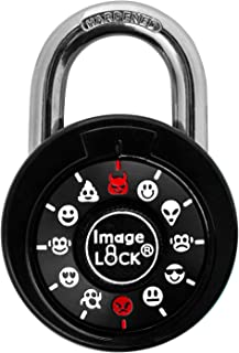 Combination Lock with Fun Emojis, ImageLOCK Patented Non-Resettable Combination Lock with Administrative Key, Emoticons Instead of Numbers (White - Without Administrative Key)