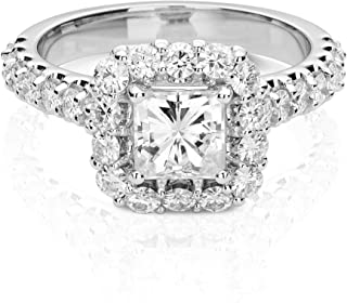 14K White Gold Moissanite by Charles & Colvard 5.5mm Square Halo Engagement Ring, 1.98cttw DEW