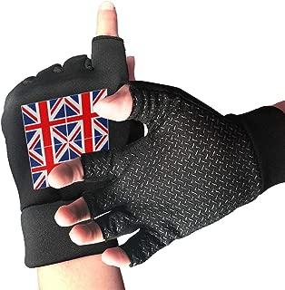 WAYOULUCK Men's Women's Big Union Jack UK Flag Panel Fingerless Gloves Cycling Glove