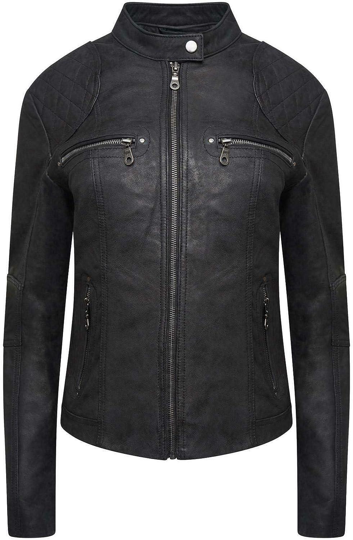 PAUL BERMAN Ladies Real Supper Soft Leather Biker Jacket Black