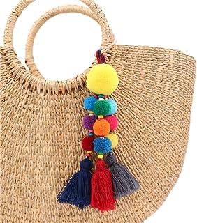 QTMY Colorful Tassel Bag Charm for Women,Layered Tassel Keychain Keyring Purse Handbag Decor Pendant