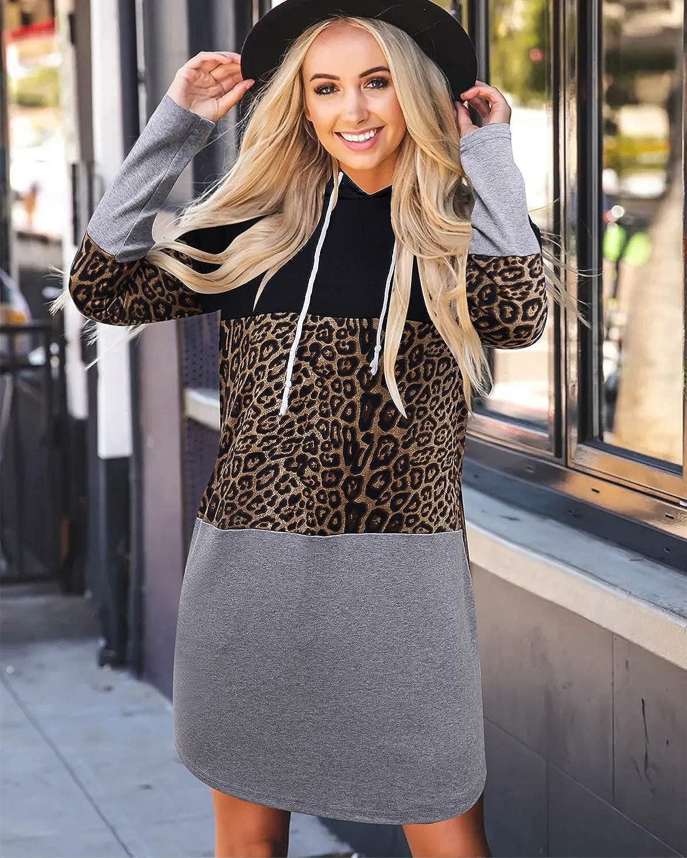 ABYOXI Damen Leopard Hoodie Kleid Langarm Pullover Kleid Kapuzenkleid Pulli Sweatshirtkleid Jumper Schwarz Leopard Grau