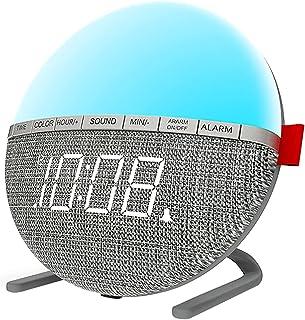 Lätt väckarklocka täckt väckarklocka digital sänglampa med 8 naturliga ljud 7 bytbara färger snooze-funktion för nattduksb...