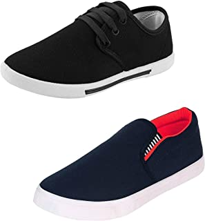 WORLD WEAR FOOTWEAR Men's (349-1002) Casual Sneakers Shoes (Set of 2 Pair)