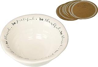 "Mud Pie 4605038 Thankful Tradition White Dolomite Set Ceramic Serving Bowl, 3.25"" x 7.5"""