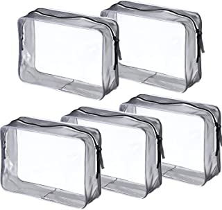 Pangda 5 Pack Clear PVC Zippered Toiletry Carry Pouch Portable Cosmetic Makeup Bag for Vacation, Bathroom and Organizing (...
