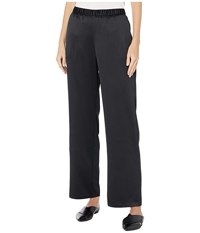 Eileen Fisher  Recycled Polyester Satin Straight Pants (Black) Womens Casual Pants