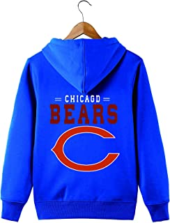 JJCat Men's Long Sleeve Hooded Letters Print Chicago Bears Solid Color Zipper Hoodies