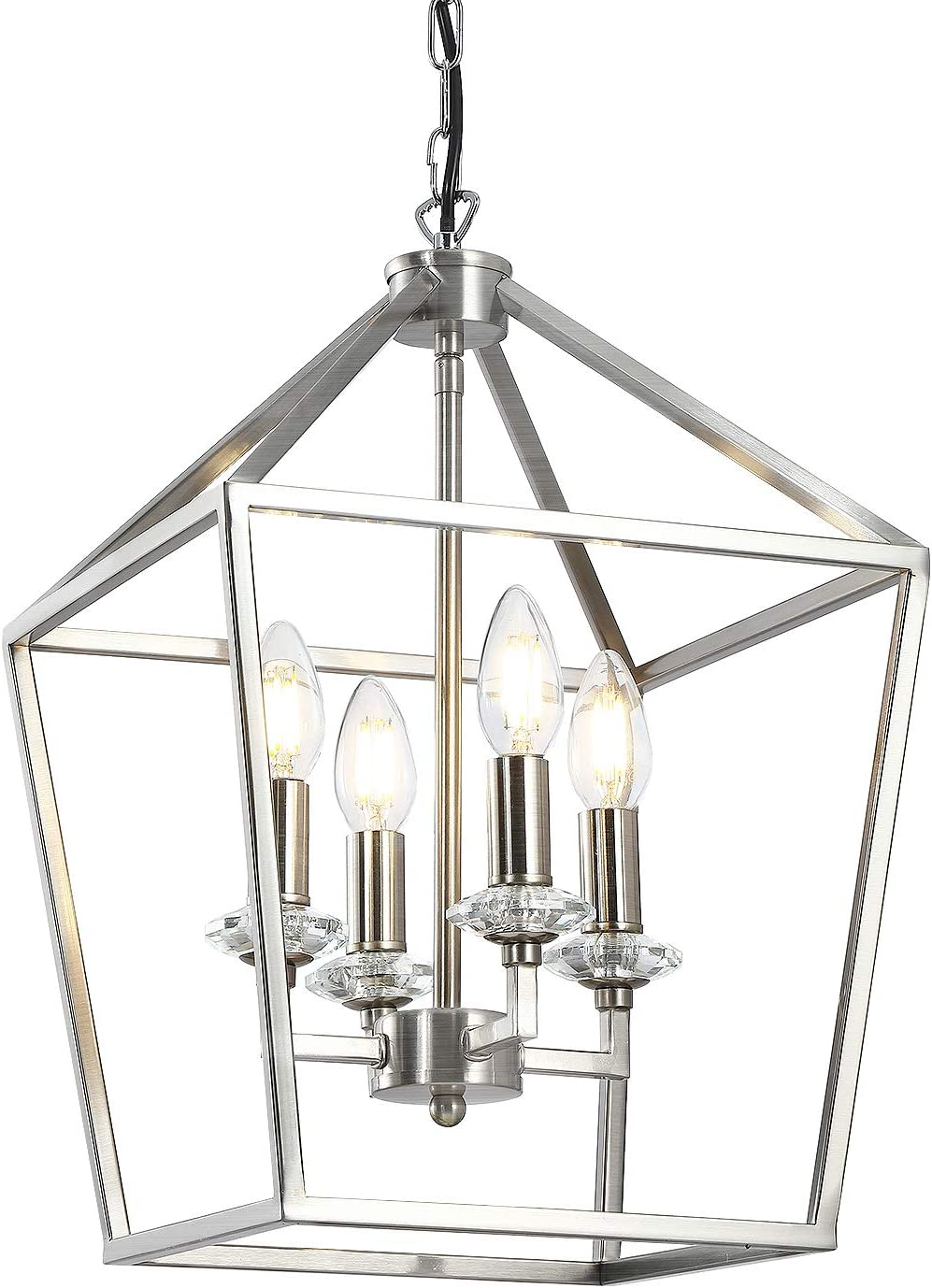 Foyer Lantern Pendant Light, 9 Light Brushed Nickel Hanging Light Fixtures  Chandelier with Crystal Lamp Base for Kitchen Island Dining Room Foyer ...