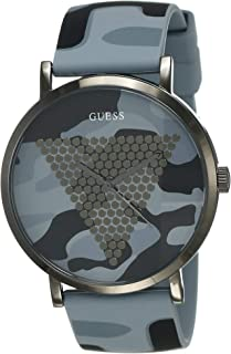 GUESS Mens Quartz Watch, Analog Display and Silicone Strap - W1161G3