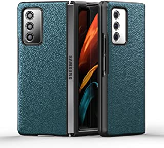 Case for Samsung Galaxy Z Fold 2, Anti-Drop Genuine Leather Protective Cover - Premium Slim Design for Z Fold 2 5G,Green