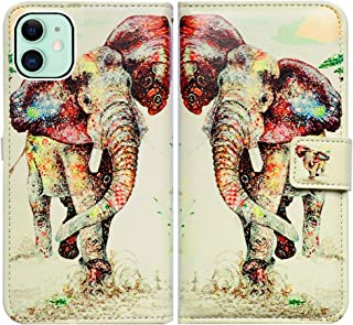 iPhone 11 Case,Bcov Elephant Pattern Card Slot Wallet Leather Cover Case for iPhone 11