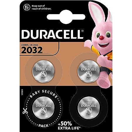 Duracell - Pilas de botón de litio 2032 de 3 V, paquete de 4, con Tecnología Baby Secure, para uso en llaves con sensor magnético, básculas, elementos vestibles, dispositivos médicos (DL2032/CR2032)