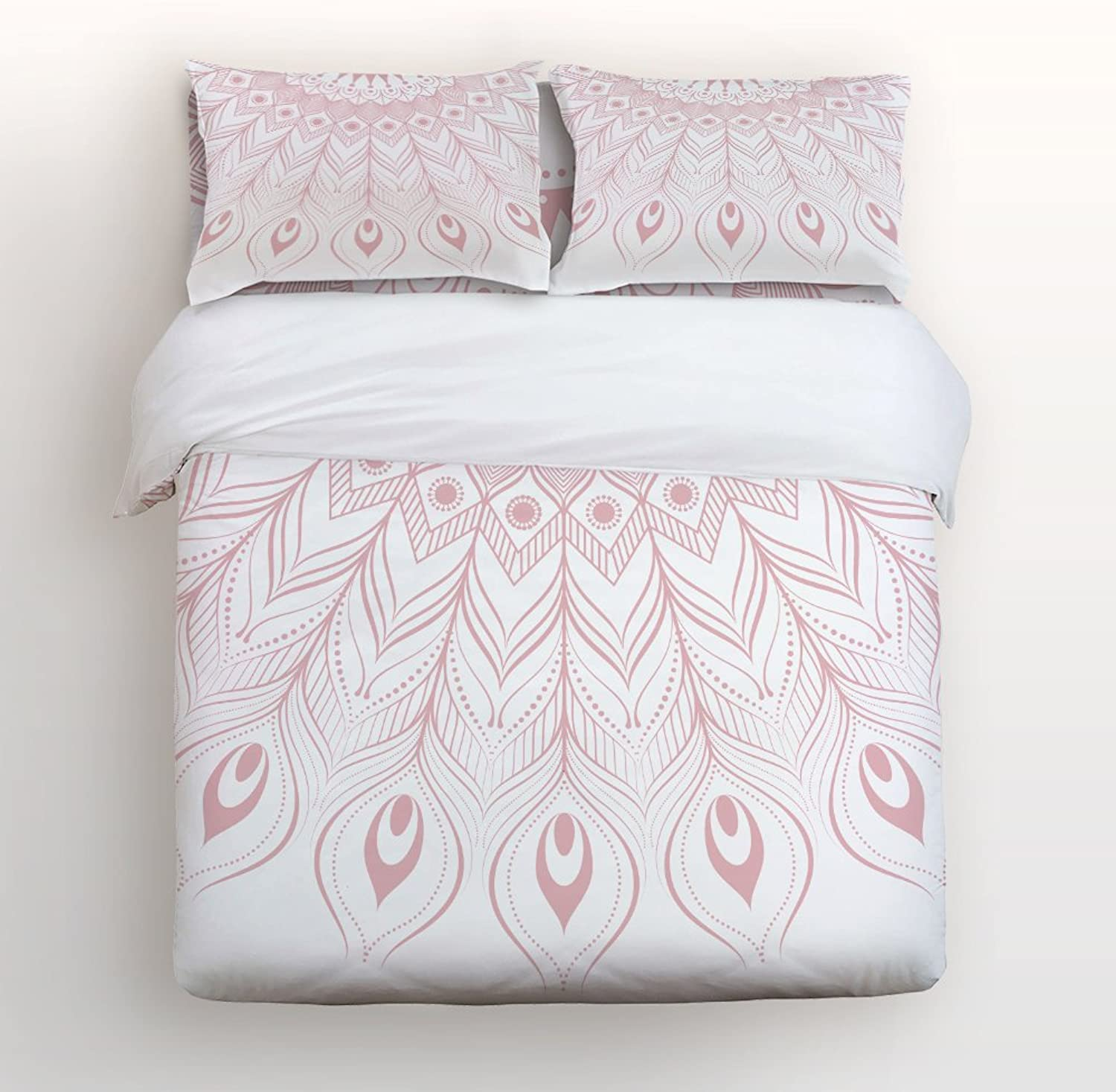 Libaoge 4 Piece Bed Sheets Set, Detailed Mandala Geometric Peacock Feather Pink Print, 1 Flat Sheet 1 Duvet Cover and 2 Pillow Cases