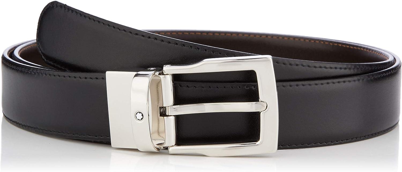 Belt Clas Rect Cut Shiny Palla Pin Buckle, Rev Blk/brn