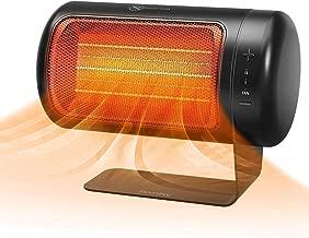 HOMASY Réchauffeur Electrique Portable, 1500W Radiateur Soufflant Chauffage Rapide en 2S, avec 2 Modes de Chauffage et Mode Ventilateur Chauffage par Oscillation de 50° pour la Maison/Bureau (Blanc)