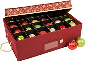 [Christmas Ornament Storage Box with Dividers] - (Holds 48 Ornaments up to 3 Inches in Diameter)   Acid-Free Removable Trays with Separators   2 Removable Trays - (Classic Snowflake)