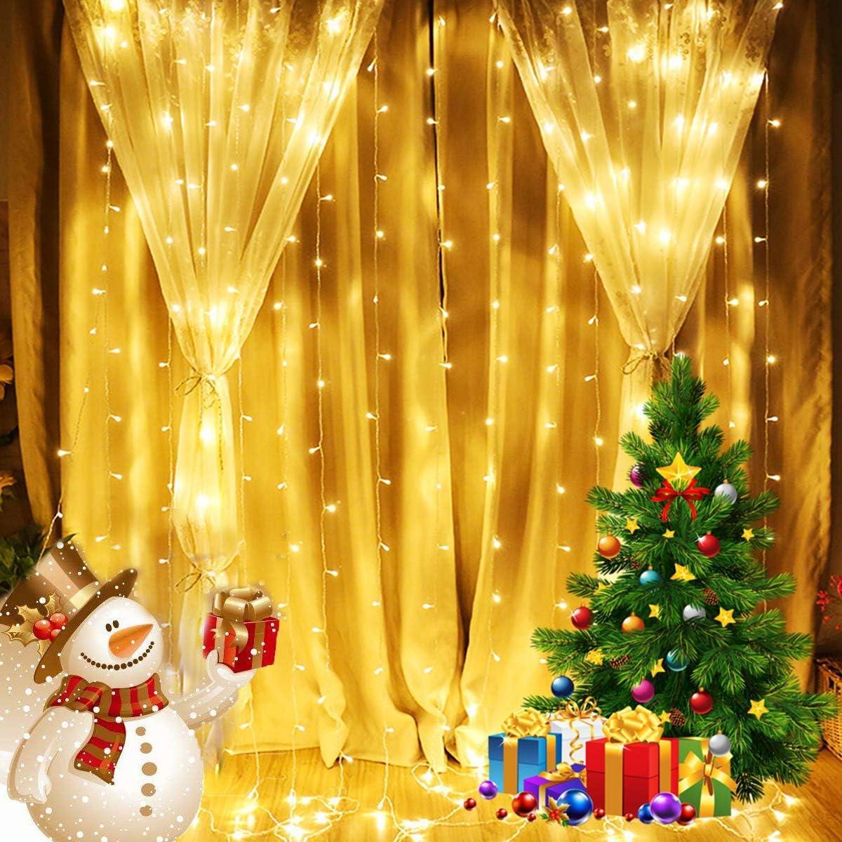 Quntis Christmas Decoration Curtain Lights - 300 Soldering LEDs Albuquerque Mall Fairy Icic